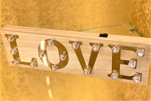 Wood Finish Blub Style Lighted Love Sign (Battery Operated)
