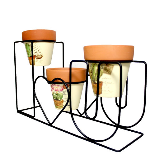 "Indoor/Outdoor ""I Love U' Plant Stand & Pots Included"