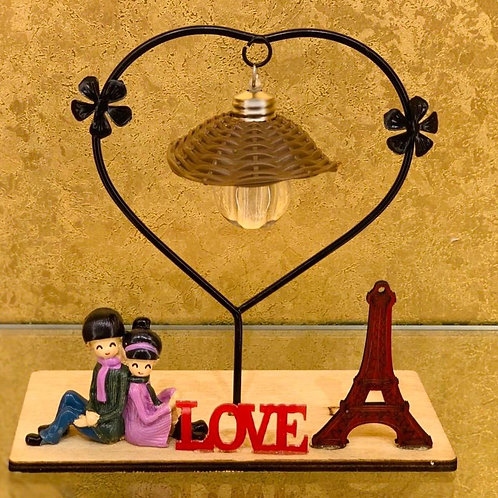 Giftable Couple Showpiece with Light - Love Sign and Eiffle Tower