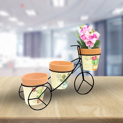 Cycle Style Stand with 3 flower Pots (flowers not included)