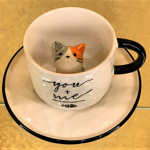 Very Unqiue Cute Cup & Saucer with Cat Inside (Limited Edition)
