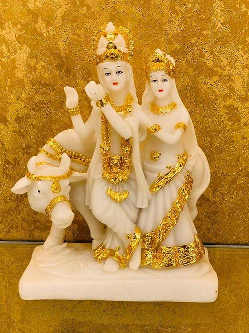 Antique Finish Lord Radha Krishna Love Couple Sculpture