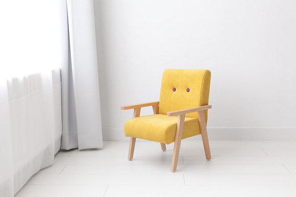 Fauteuil jaune boutons rose fushia