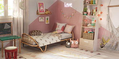 Chambre lit junior design Corbeille retro vintage osier canne naturelle