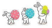 2060852-paques-jour-trois-lapins-et-oeuf