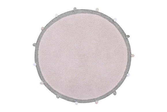 Tapis 100% Coton naturel Rond Rose