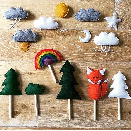 Set Amis de la foret 13 marionnettes et accessoires