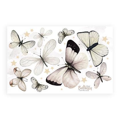 Set de grands stickers papillons naturels