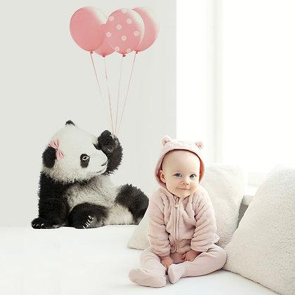 Magnifique Sticker Pandas et ballons Rose
