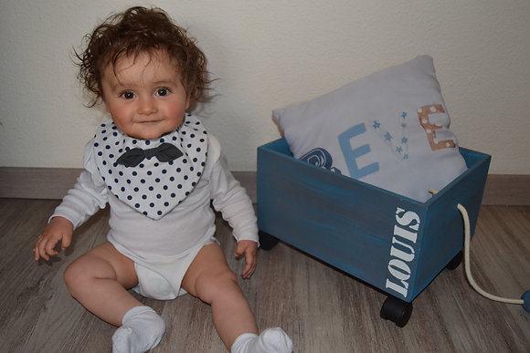 Bavoir petit gars So Chic Pois bleus sur fond blanc et son Nœud Pap'