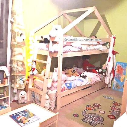 Lit Maison a étage avec tiroir gigogne 90x190cm Click & collect