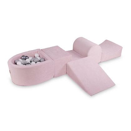 Parcours de motricité rose avec puits à balles