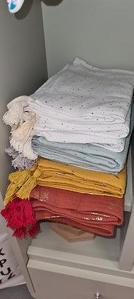Beau lange couverture en gaze de coton détails Or