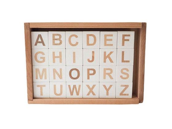 Coffret alphabet en Bois 24 pièces cubes multifaces