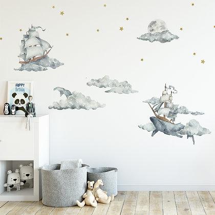 Set de Stickers Balais Mer et Ciel