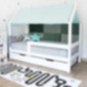 Lit cabane Maison avec tiroir et barrières de sécuritéblanc