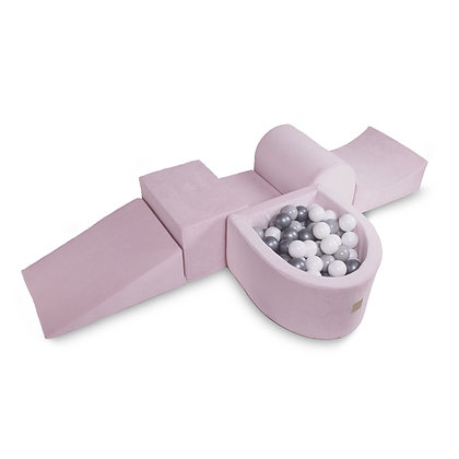 Parcours de motricité rose avec puits à balles Click & collect