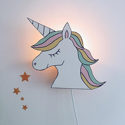 Applique murale Licorne multicolore
