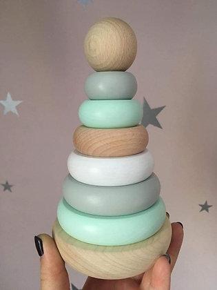 Tour d'Empilage en Bois Montessori Pastel Mint