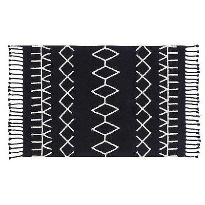 Tapis lavable noir Motifs géometriques blanc Berbere Lorena Canals 140x200