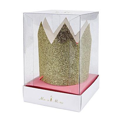 Pack de 8 mini couronnes à paillettes dorées