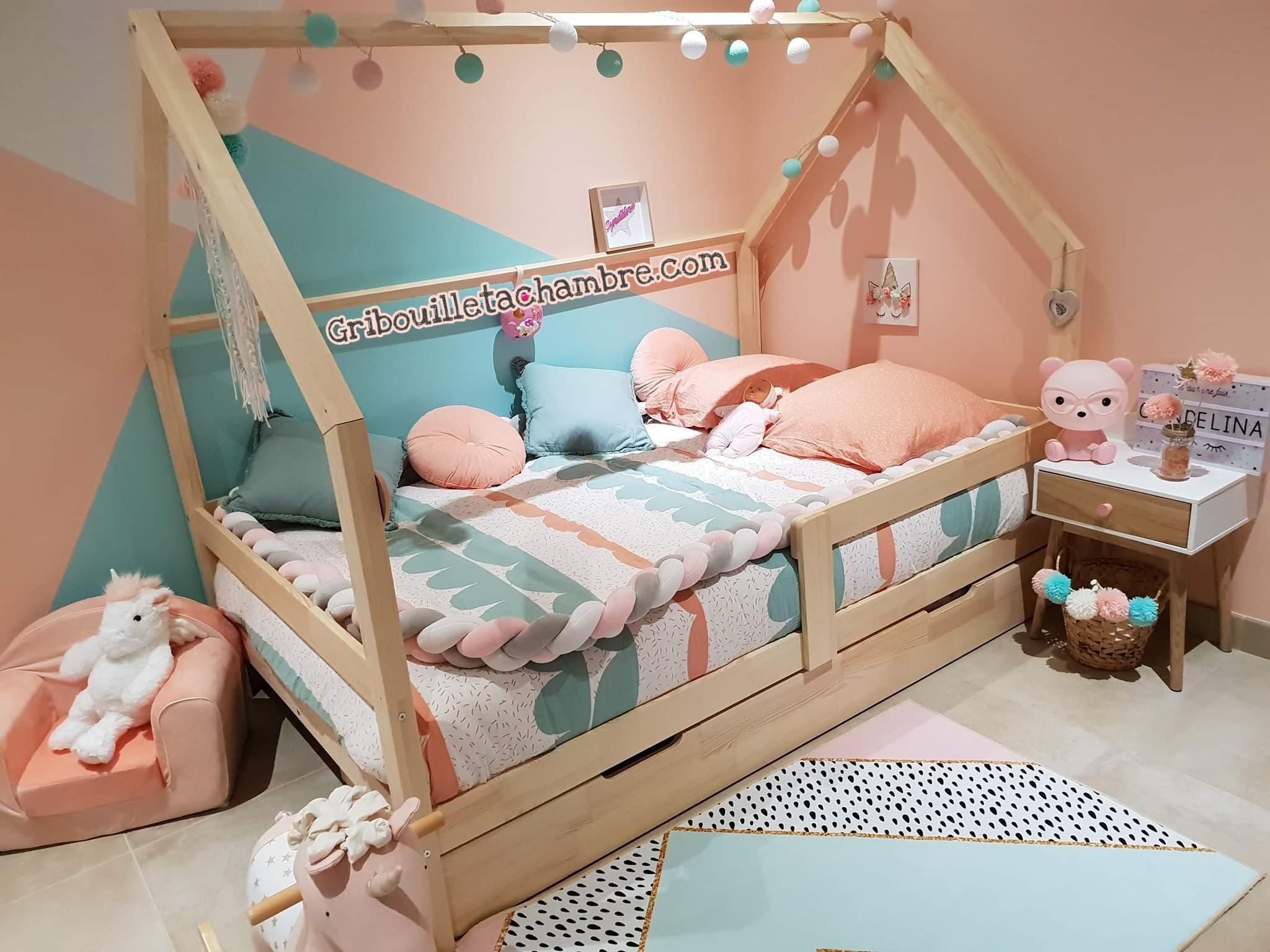 Chambre Lit Cabane Fille lit maison avec tiroir gigogne en bois naturel à partir de