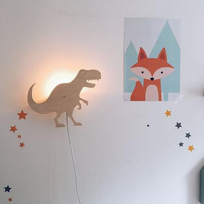 Applique murale T-rex bois naturel