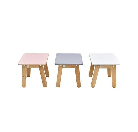 Tabouret  design bimatière Bois et laque mat Minidesk