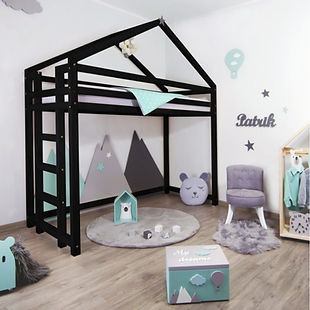 Lit mzzanine enfant chambre noir design déco