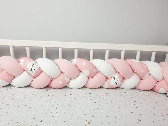 Tour de lit tressé 3 grains motif nuage endormi à personnaliser