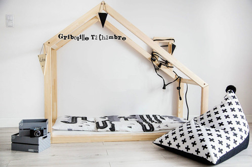 cadre maison d 39 archi au sol 70x140cm sans sommier lit cabane france gribouille ta chambre. Black Bedroom Furniture Sets. Home Design Ideas