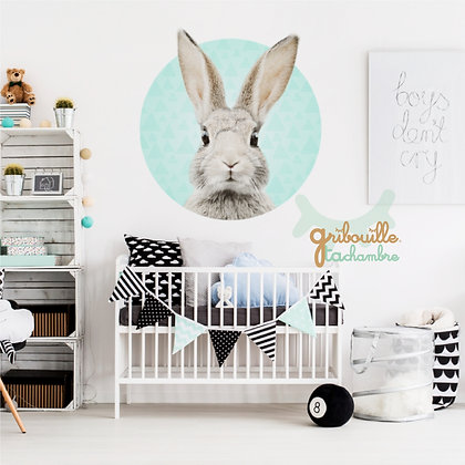 Lapin Bunny sur fond Mint ou Rose
