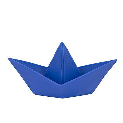 Lampe grande veilleuse ORIGAMI bâteau unie Bleu océan