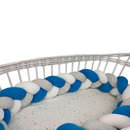Tour de lit tressé 3 grains Bleu Roi blanc Souris