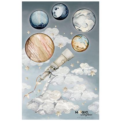 Set de Stickers nuages et planètes merveilleuses Galiléo