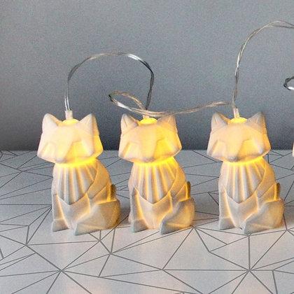 Guirlande lumineuse de Renards Gris style Origami