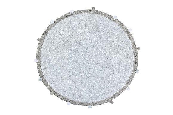 Tapis 100% Coton naturel Rond Bleu