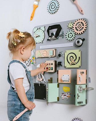 """Tableau d'activité """"Busy Board"""" Plus Gris et couleurs pastelles"""