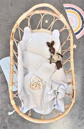 Berceau de bébé en rotin avec matelas 80x40cm modèle CANTIK
