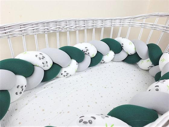 Tour de lit tressé 3 grains motif Panda à personnaliser