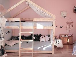 lit cabane superposé  enfant chambre double lit en hauteur mezzanine
