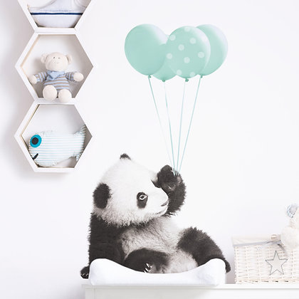 Magnifique Sticker Pandas et ballons Bleu Mint