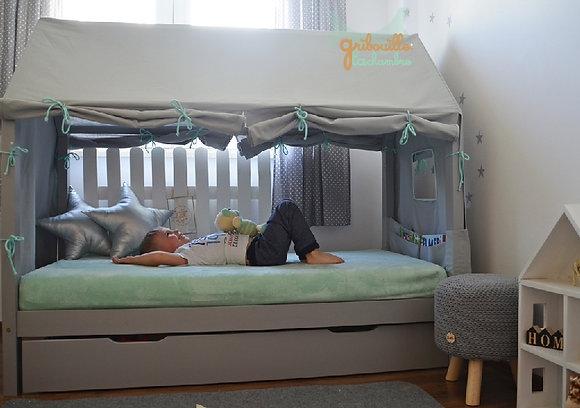 Habillage complet de Maison Gris pour lit Maison 90x160