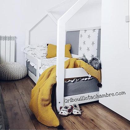 Lit Maison Blanc avec barrières de sécurité 90x190cm Express