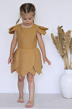 Robe de petite Fée en Lin moutarde