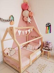 Lit cabane Maison 90x190cm Express livraison rapide mon lit cabane lit enfant bois bebe avec barrières et cheminée