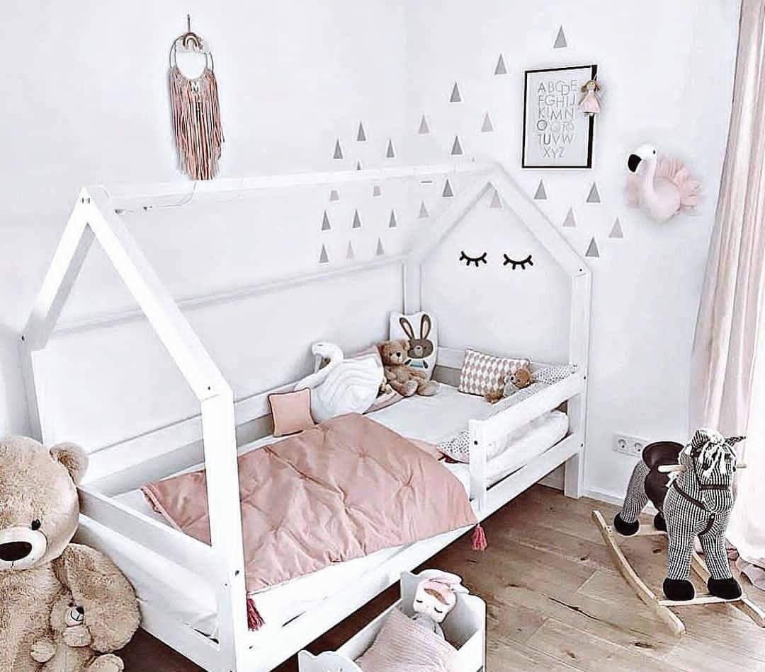 Chambre Lit Cabane Fille lit maison blanc, gris, rose, mint ou noir à partir de