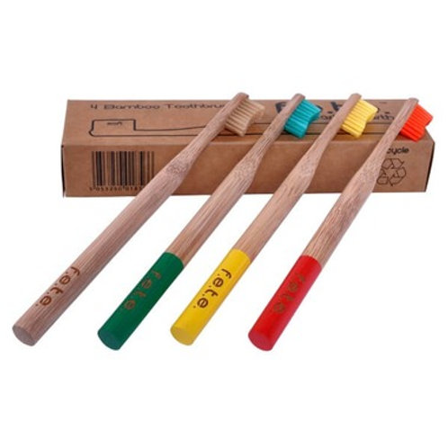 F.E.T.E. Bamboo Toothbrushes: Set of 4
