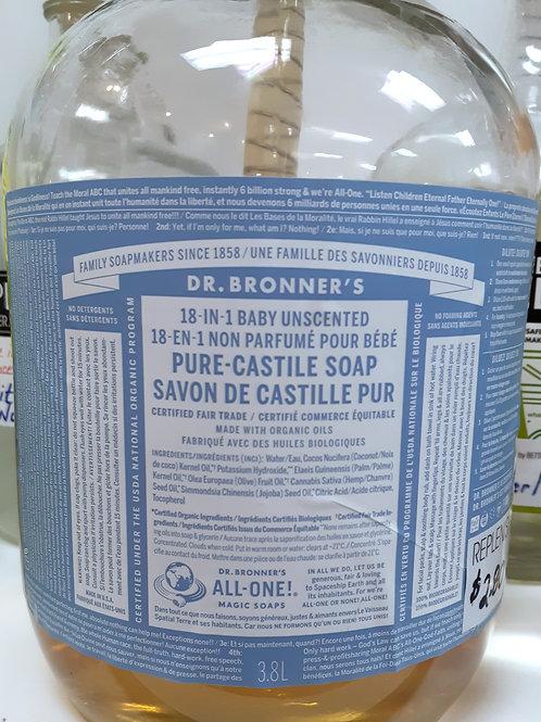 Dr Bronner's Unscented Castile Soap: sold per 100ml