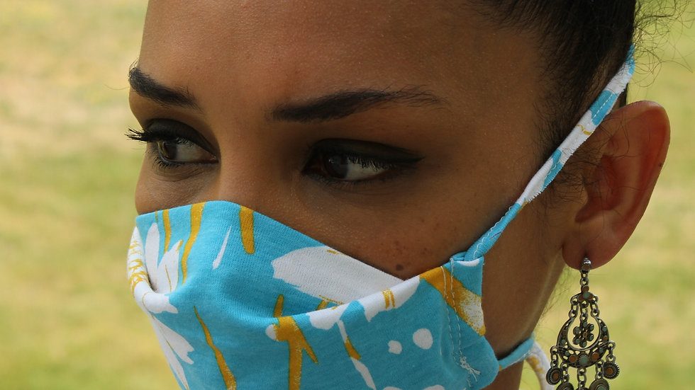 Turquoise Print Mask